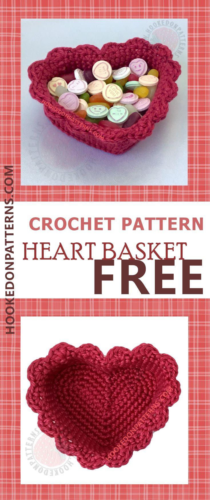 Free Crochet Heart Basket Pattern   Tejido, Ganchillo y Arreglos de ...