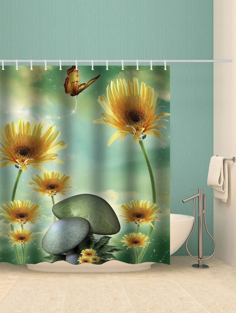 Mushroom Floral Pattern Shower Curtain Ad Ad Floral