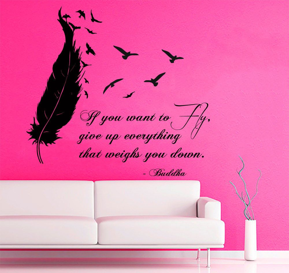 wall decals buddha quote birds flying feather vinyl sticker decal wall decals buddha quote birds flying feather vinyl sticker decal decor kg717 fashion