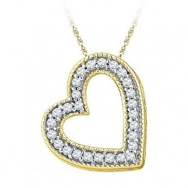 10kt Yellow Gold 1/8ctw Diamond Fashion Heart Pendant by RG&D