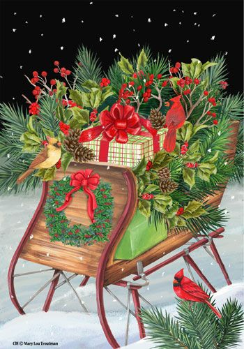 Custom Decor Flag - Christmas Sleigh Decorative Flag at Garden House