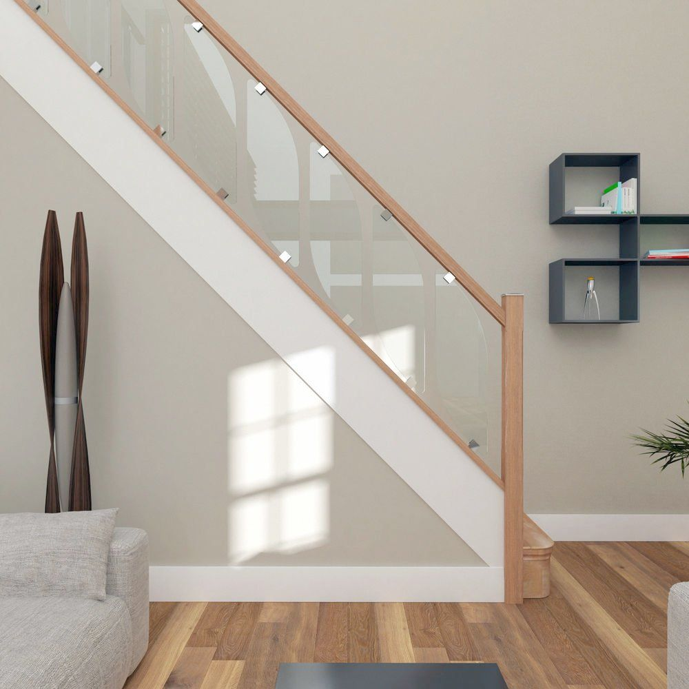 Cost Of New Staircase Home Design Ideas And Pictures Glass   Glass Balustrade Staircase Cost   Tempered Glass Panels   Stair Treads   Oak Staircase   Curved Glass   Stainless Steel