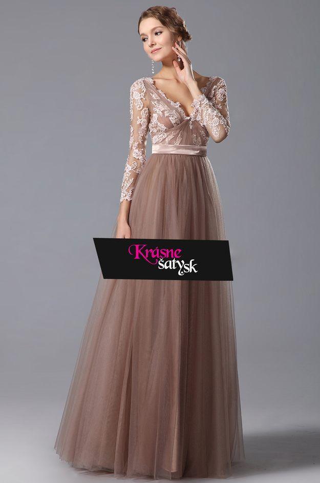 f78fe205477 Romantické hnedoružové šaty S01403