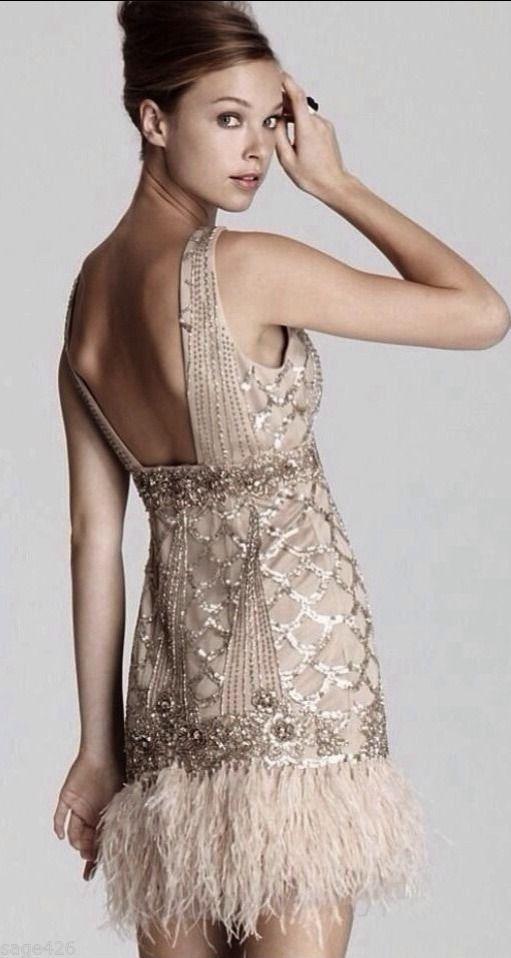 efda0f475a2 Sz 4 ~ NWT SUE WONG Feather Flapper Dress Beaded 1920 s GATSBY Prom  Champagne