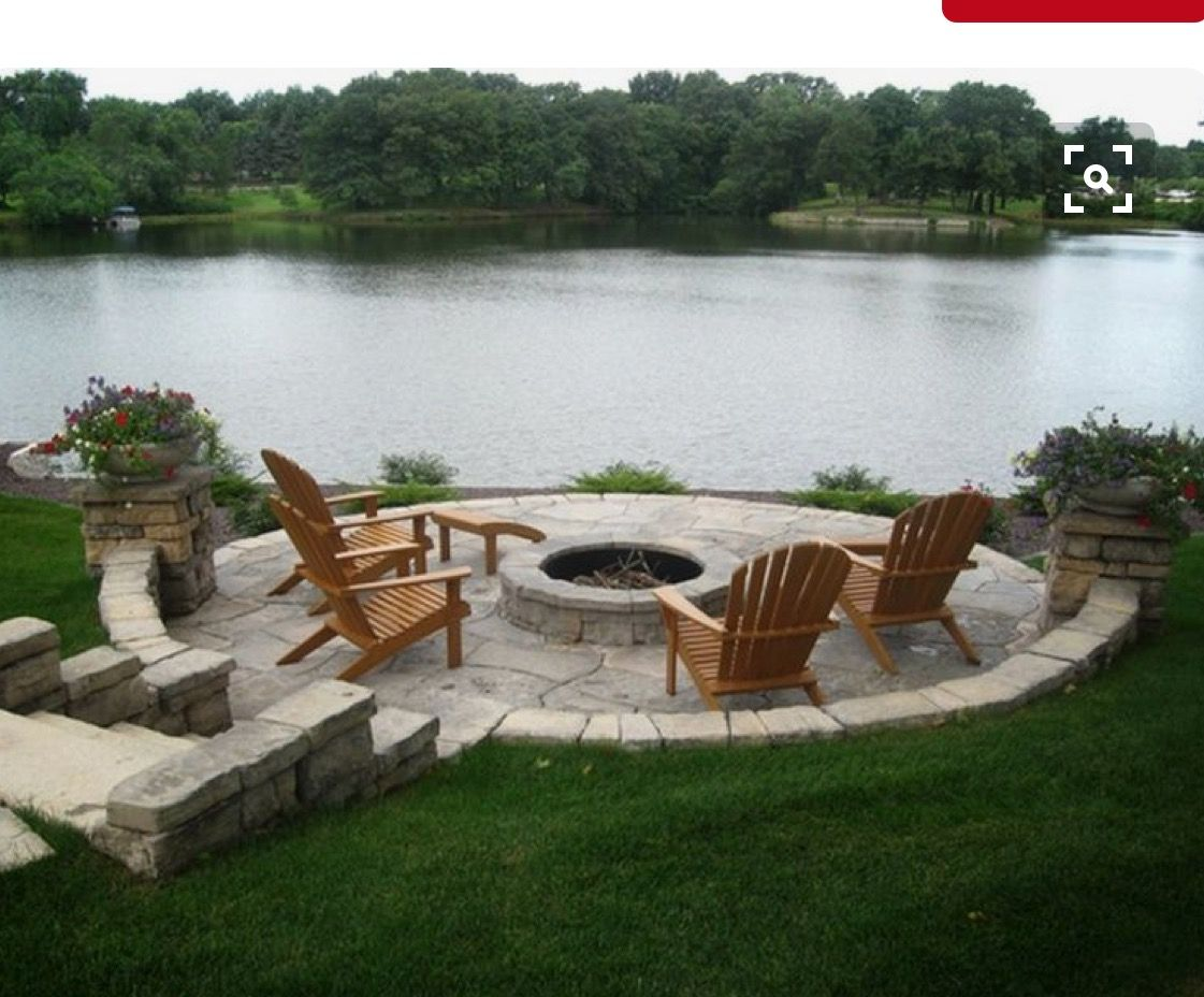 pin by laura byrne on lake house fire pit landscaping outdoor rh pinterest com