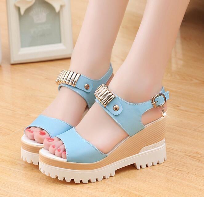 752084165f6 2016 Women S Wedge Heel Shoes Fashion Platform Rhinestone Peep Toe Sandals
