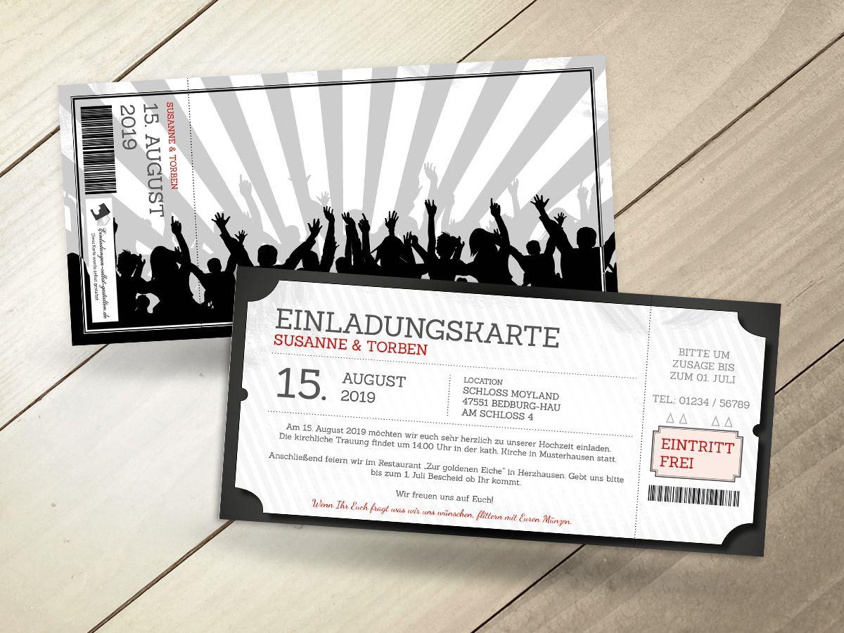 Eintrittskarte Als Einladung   Text Komplett Anpassbar!