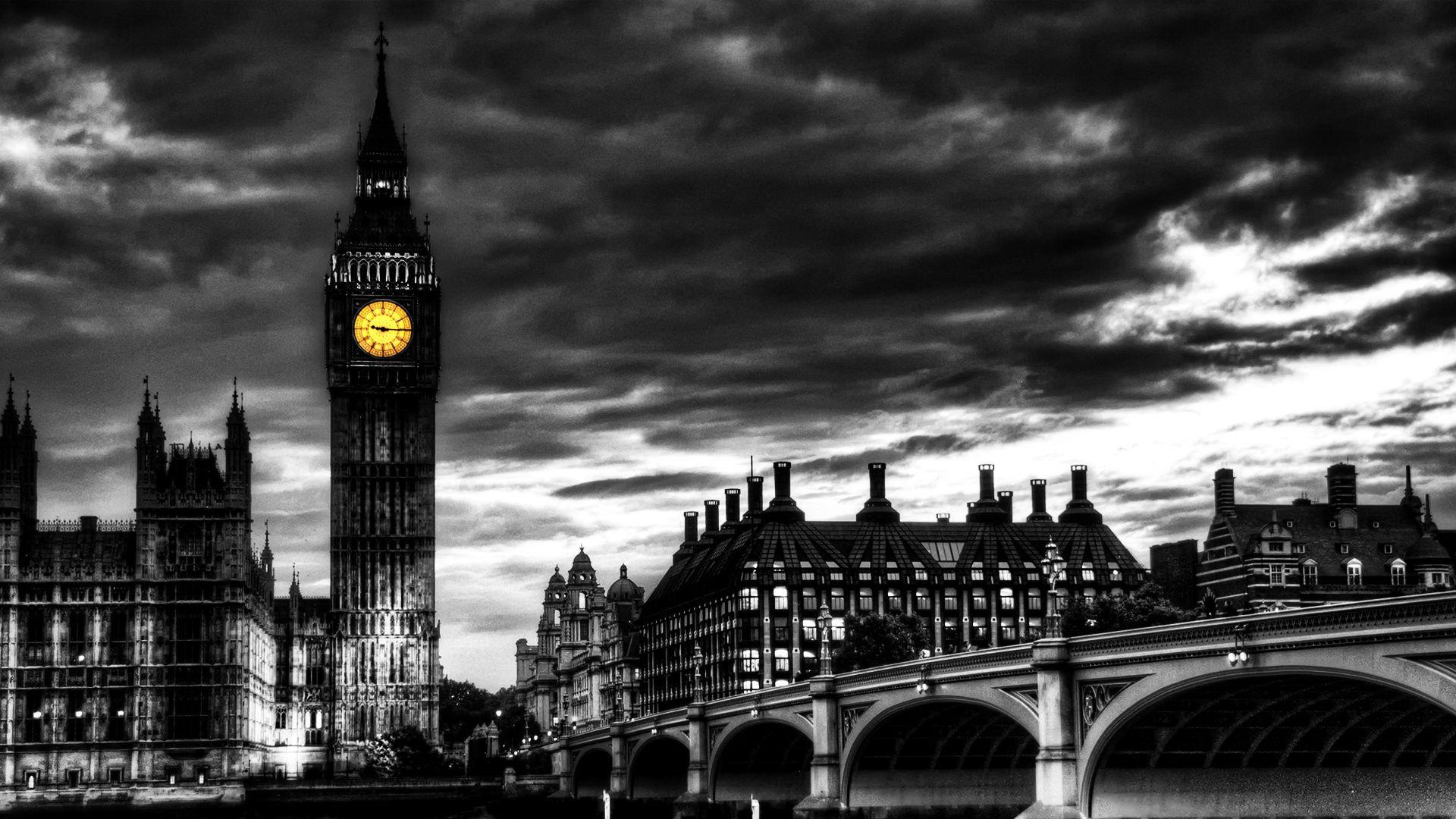 black and white art wallpaper | dark Big Ben, art, Big Ben, black ...