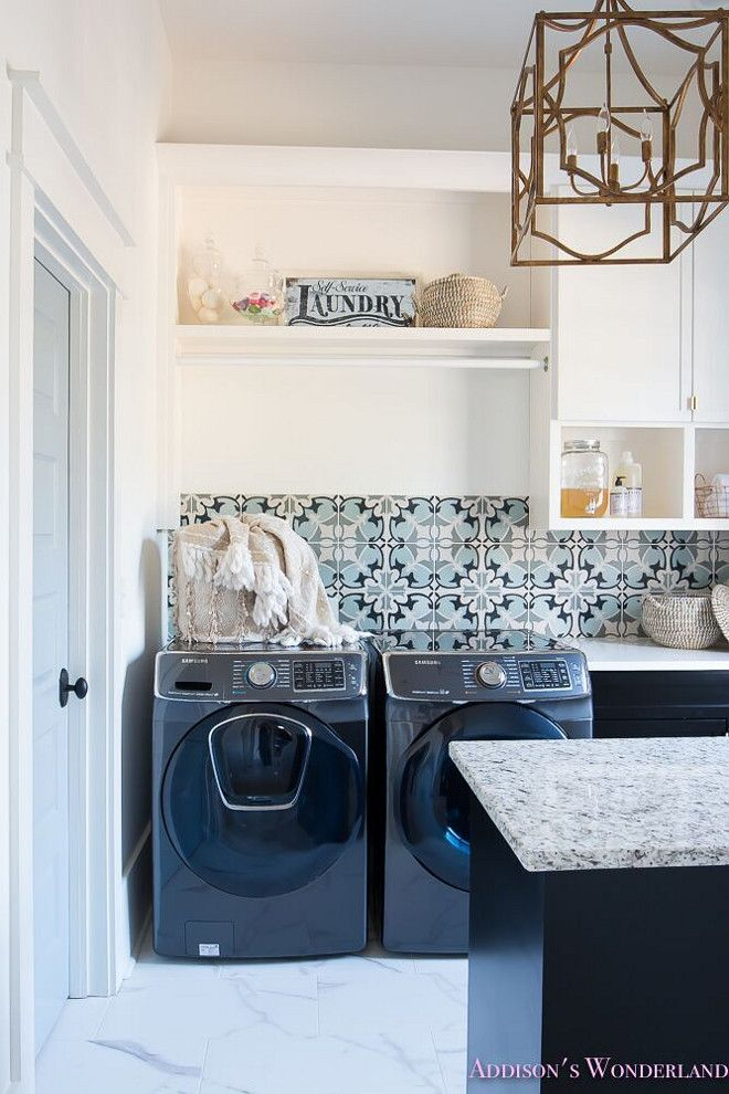 Blue And Grey Cement Tile Backsplash In The Laundry Room Flooring Glacier Grey 12 X 24 Ceram Laundry Room Tile Laundry Room Inspiration Laundry Room Decor