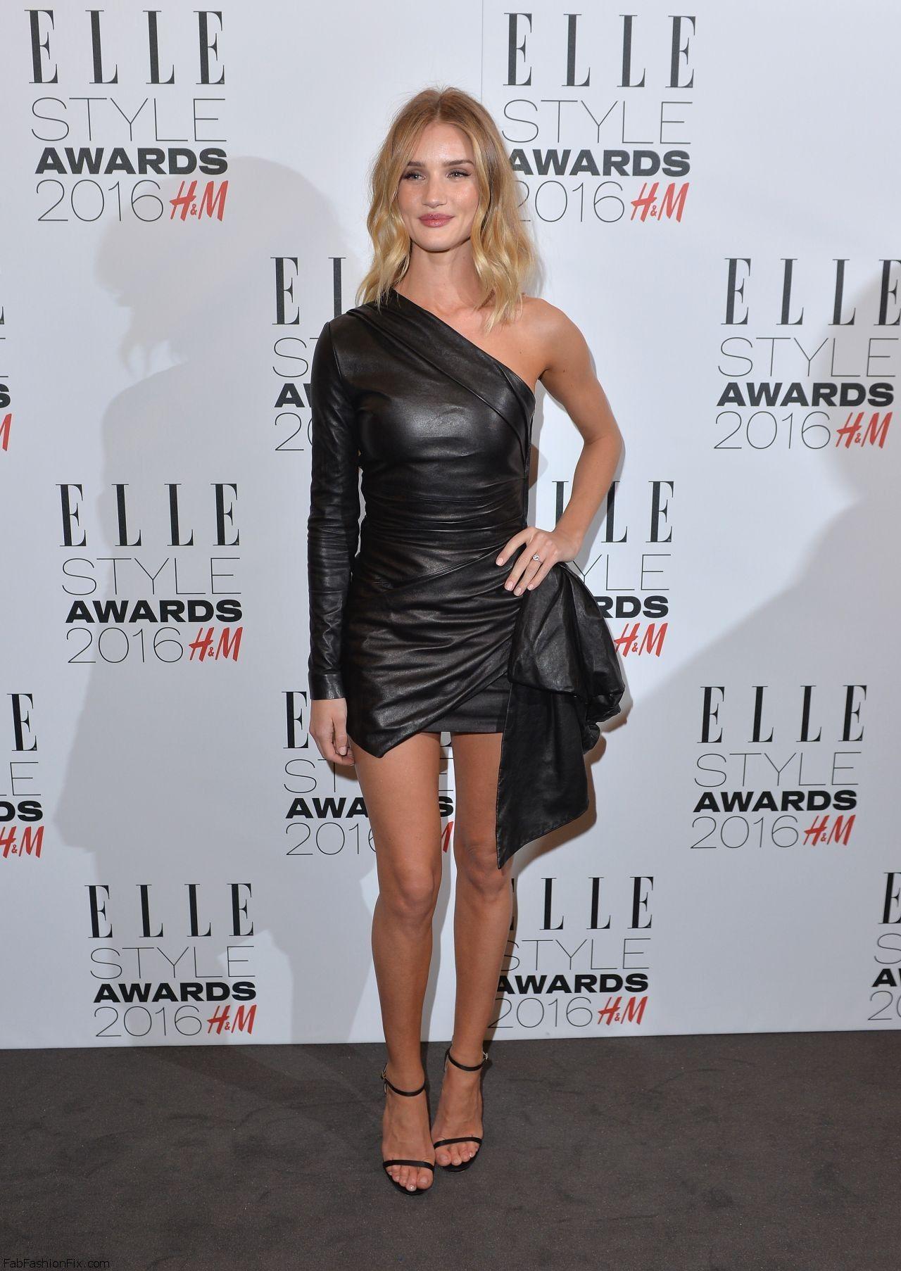 Rosie Huntington - Whiteley shows her legs in Roberto Cavalli leather mini dress at 2016 ELLE Style Awards (February 2016). #rosiehuntingtonwhiteley