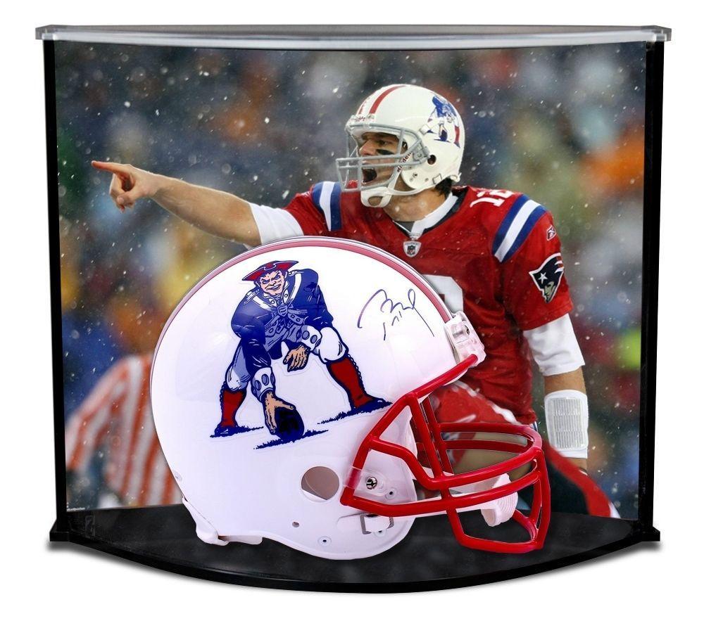 Tom brady signed authentic patriots throwback helmet curve