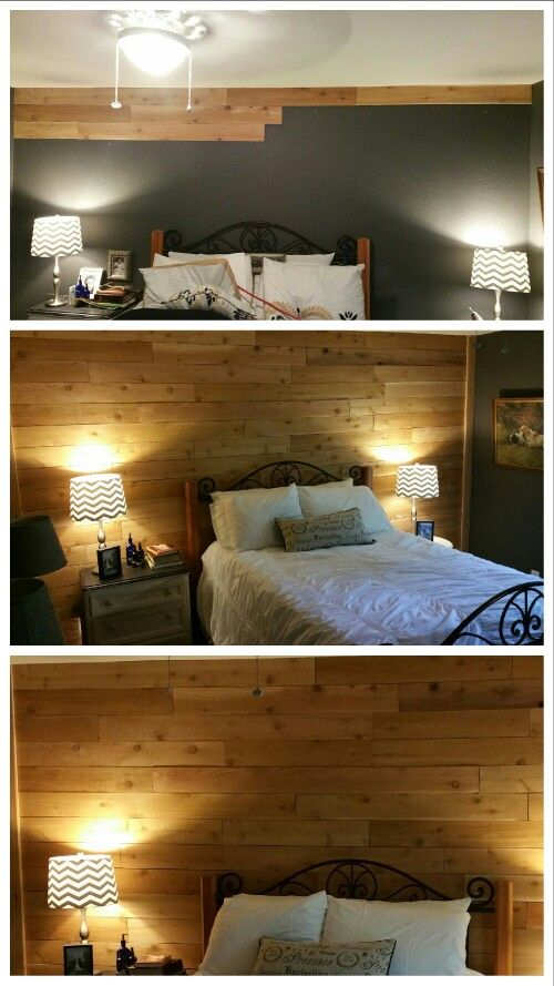 i just planked our bedroom wall with cedar fence pickets bought on rh pinterest com
