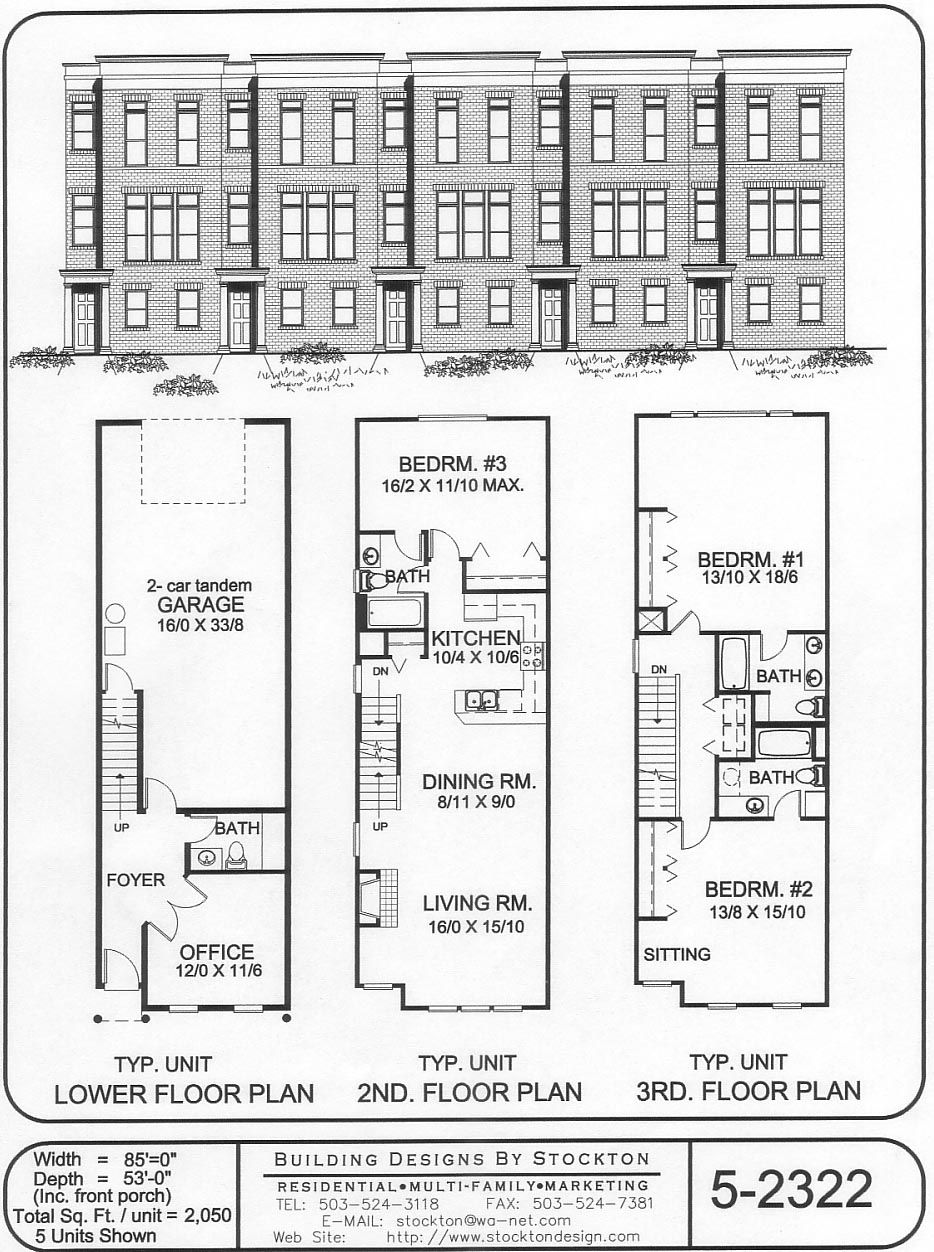 Building Designs By Stockton Plan 5 2322 Town House Floor Plan Narrow House Plans Row House Design