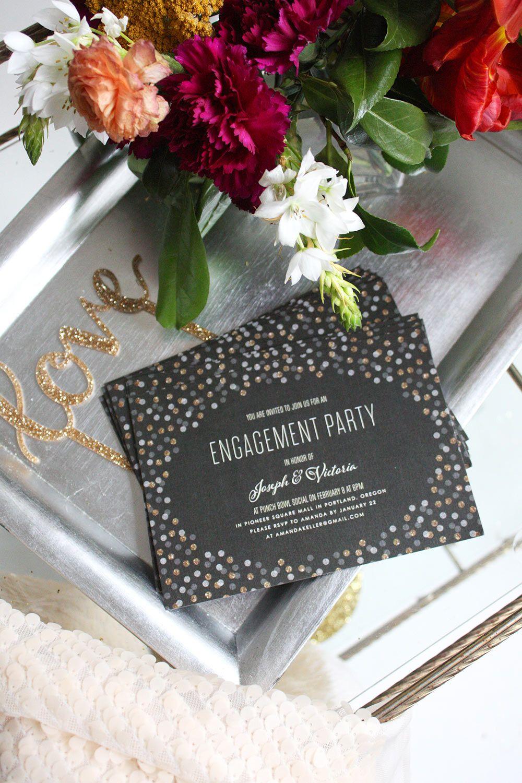 wedding celebration invitation%0A Glitter Confetti Engagement Party Invitations by Jennie Hake   Elli com