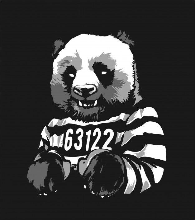 Dibujos animados panda prisionero esposa...   Premium Vector #Freepik #vector #dibujos-animados #animal #ilustracion #panda