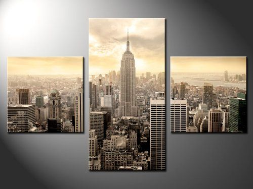 Amazon Com New York Empire New York City Cityscape Gallery Wrapped Canvas Print Size 52 X31 5 Canvas Pictures Large Canvas Prints Online Wall Art
