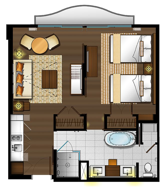 One Bedroom Suite With Two Double Beds Floor Plan For Hokulani Waikiki Hotel By Hilton Grand