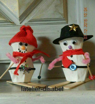 Top bonhomme de neige avec des boite d`oeuf | DYV enfants | Pinterest  OS36