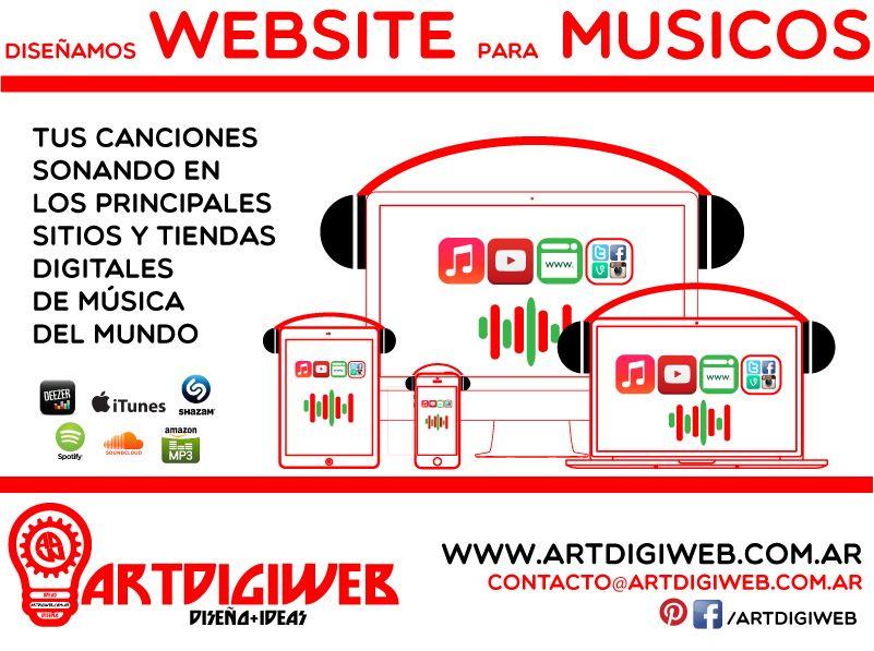 Ofrecemos asesoramiento profesional para el desarrollo de páginas web para músicos y sus proyectos musicales, teniendo en cuenta las exigencias y necesidades del mercado musical actual.  + info: http://www.artdigiweb.com.ar
