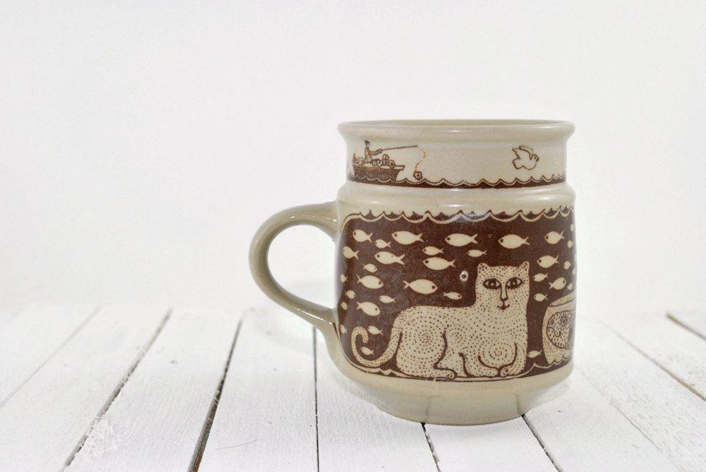 Vintage Cat and Fish Swimming Mug by Taylor and NG