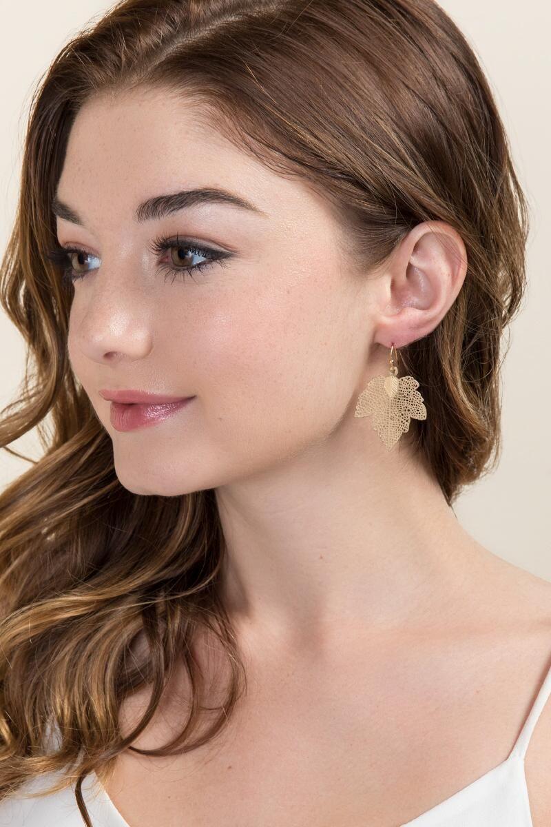 Alexia Leaf Statement Earring Gold Model Statement Earrings