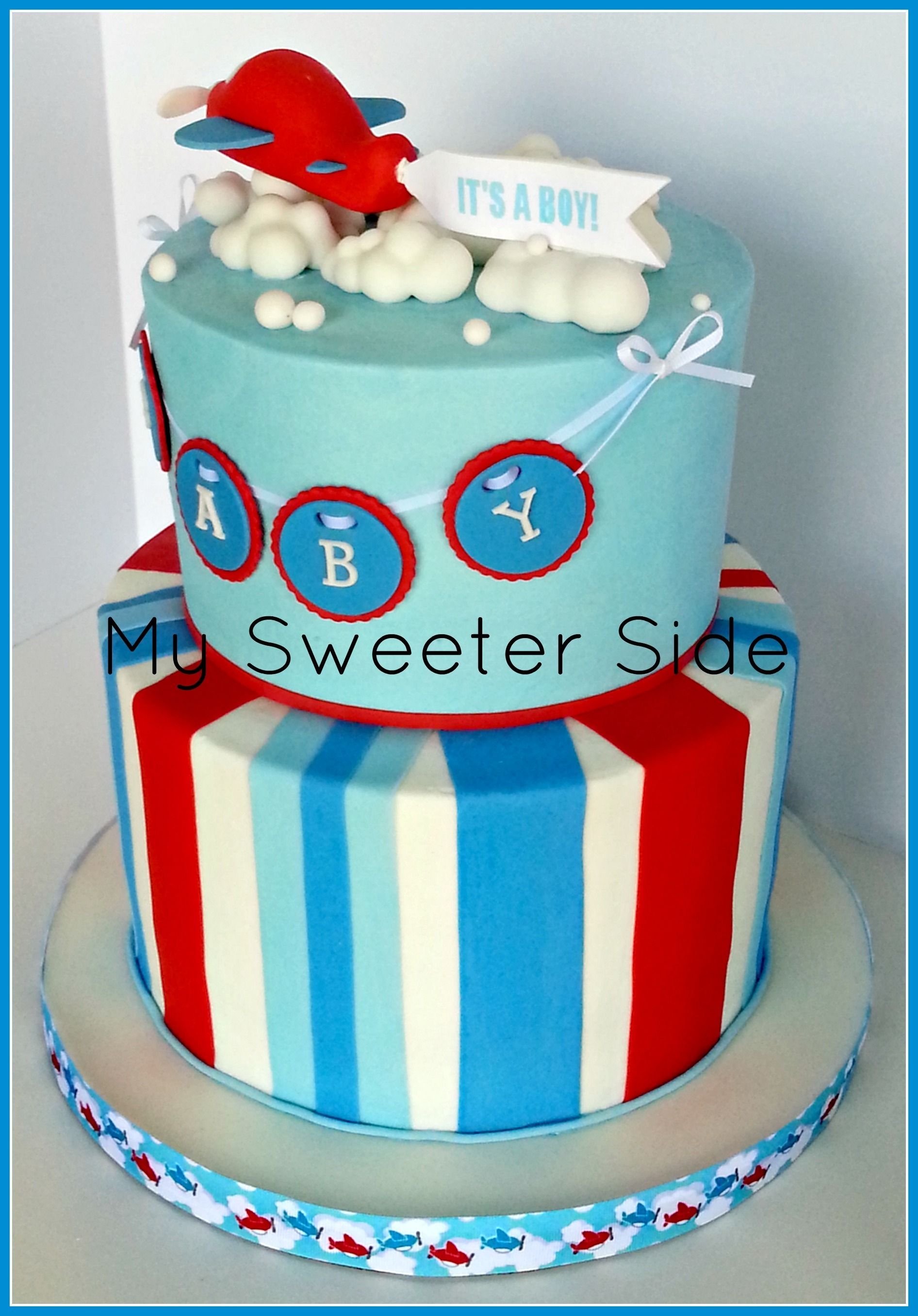 Airplane Baby Shower Cake Buttercream Cake With Fondant Decorations.