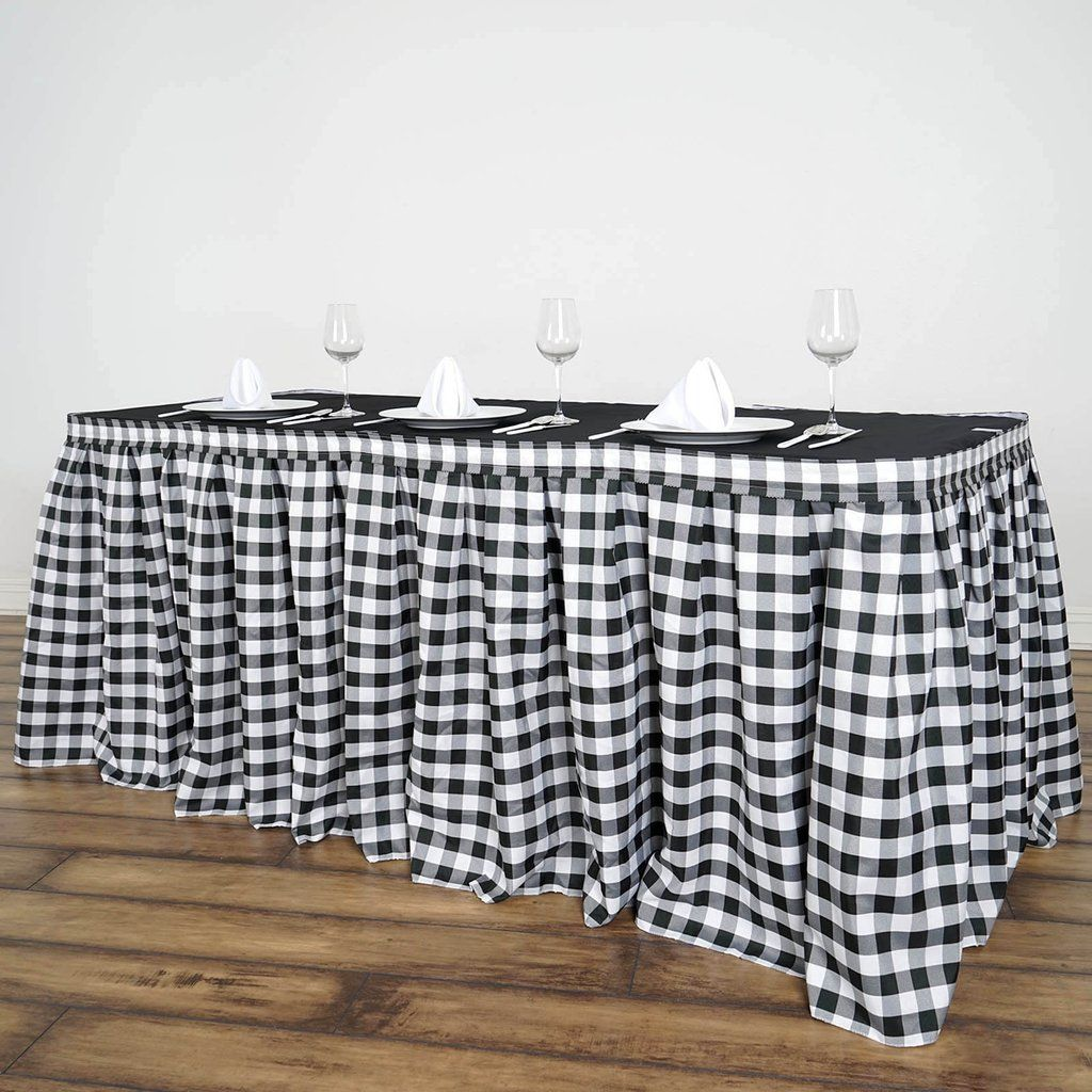 Checkered Table Skirt 14ft White Black Buffalo Plaid Gingham Polyester Table Skirts In 2020 Table Skirt Checkered Decor Plaid Tablecloth