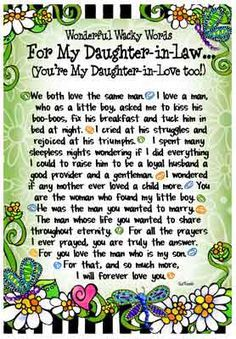 Words for My Daughter in Law - 8x10 Gifty Art 1 | Wedding gift ideas ...