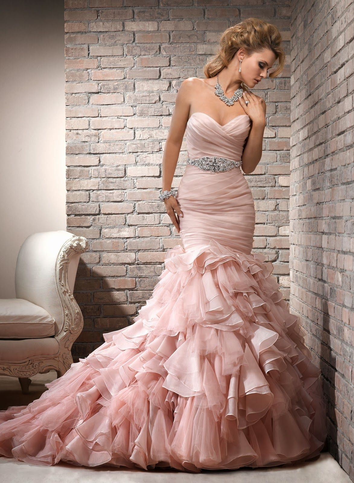 Blush Pink Wedding Dress ( love this for renewing my wedding vows ...