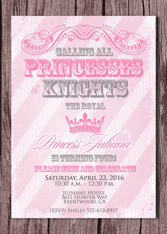 prince and princess party invitations