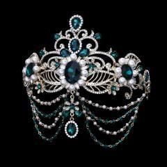 Green Crystal Bride Hair Accessory Wedding Bridal Tiaras For Women Rhinestone Pageant Crown Head Jewelry Hair Ornament