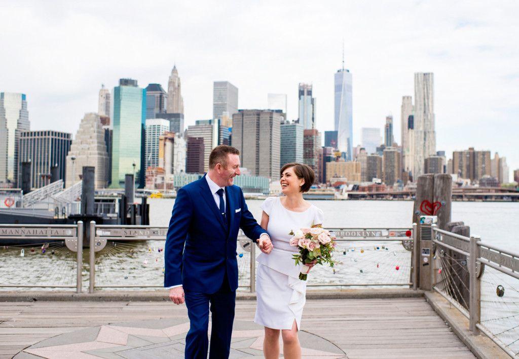 wedding ceremony new york city%0A NYC Elopement Photographer    Brooklyn Bridge Park   NYC Skyline Wedding  Photos
