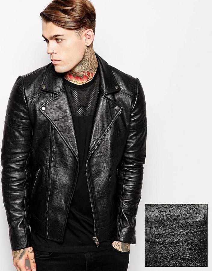 Brand Leather Biker Jacket In Faux Croc Print Black