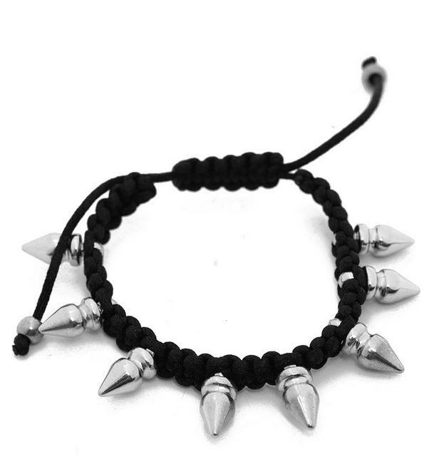 Black adjustable spiked rhodium bracelet