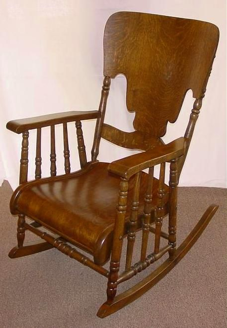 1890u0027s Golden Oak Large Rocking Chair W/Rolled Seat | Southwest .