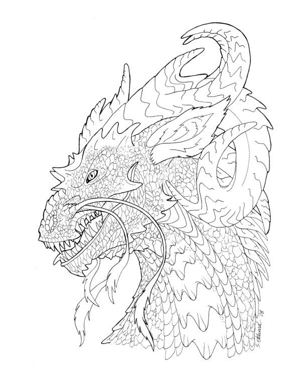 'Thirsty dragon' lineart by Sakalah on DeviantArt
