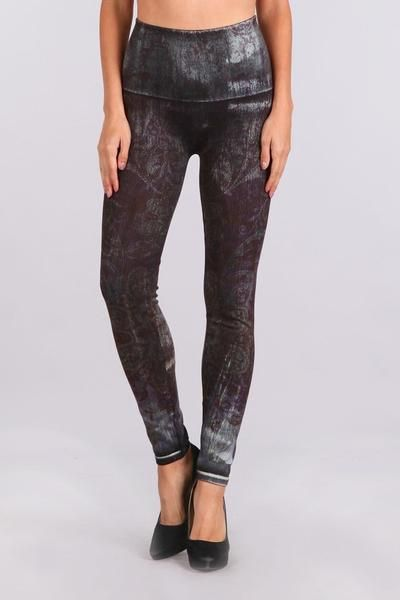 c130c31416642 High Waist Denim Leggings with Eggplant Floral Sublimation Print ($62) Pull  on, high waist jeggings with a superior fit and stretch that contours your  shape ...
