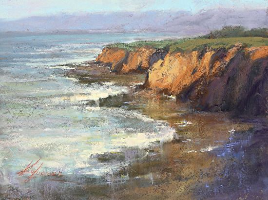 Coastal Foam And Cliff By Kim Lordier Pastel 9 X 12 Seascapes Art Pastel Landscape Seascape Paintings