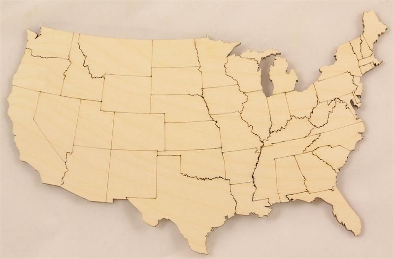 united states map cut out United States Map With States Wood Cutouts Wooden Map United