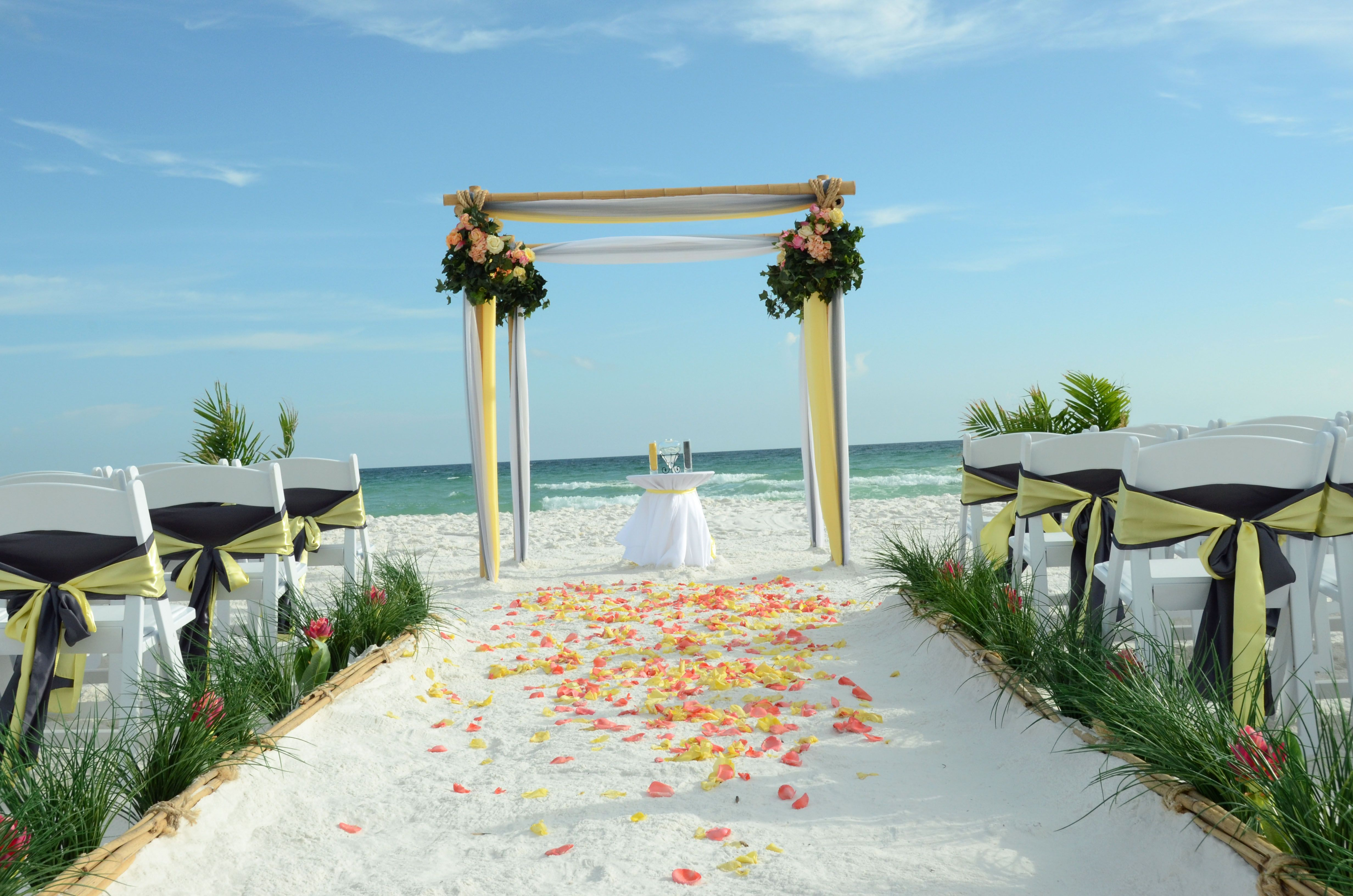 Pewter grey and yellow wedding colors. Photo and setup by