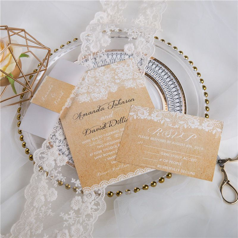 Rustic Burlap Lace Wedding Invitations With Vellum Paper Belly Band