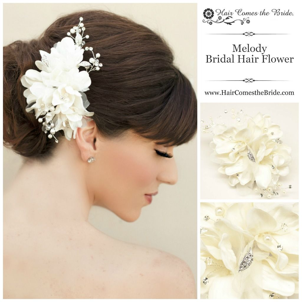 beaded ivory bridal hair flower from hair comes the bride ~ bridal