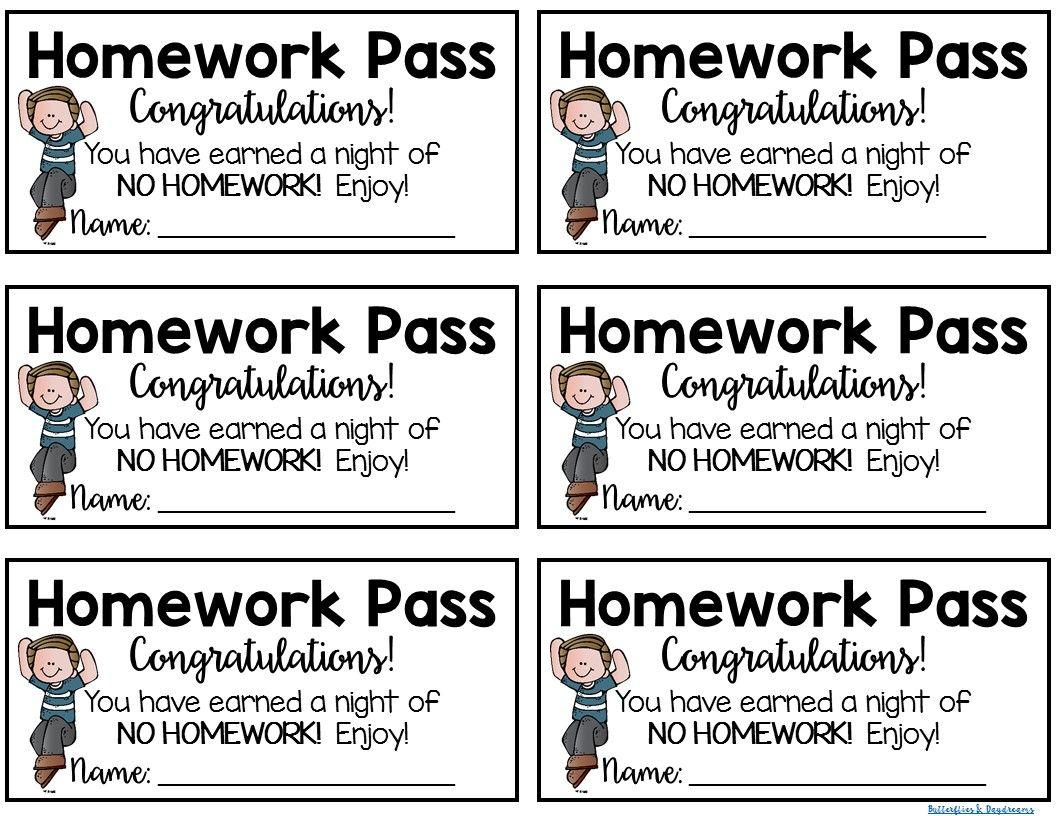homework pass freebie homework pass student reward for one night rh pinterest com