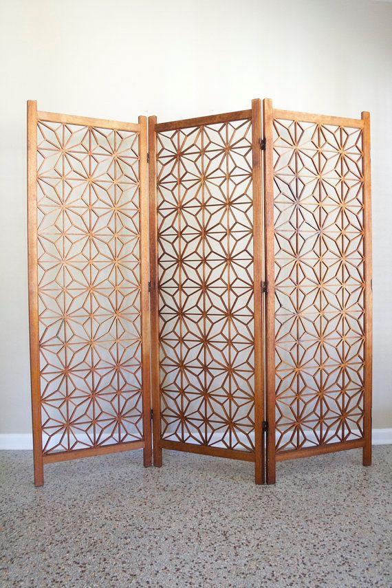 Mid Century Teak Room Divider Screen Vintage 3 Panel Geometric Starburst Room Divider Retro Lattice Design