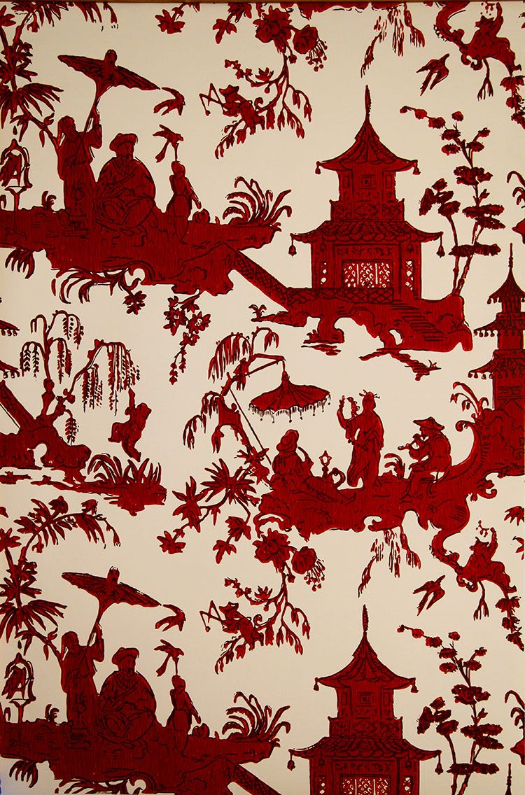 wh 172 467 jardin chinois wallpaper red on off white by waterhouse rh pinterest com