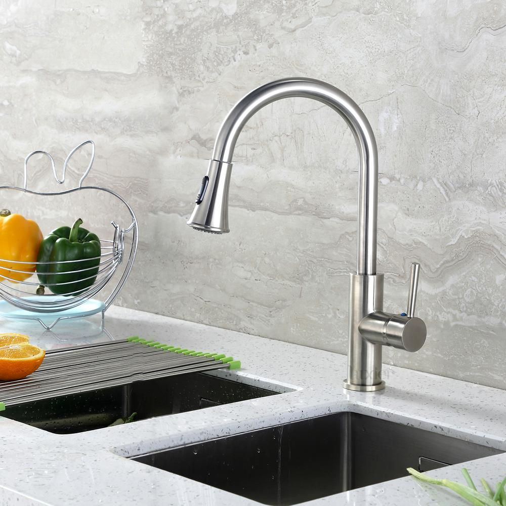 Luxier Single Handle Pull Down Sprayer Kitchen Faucet With 2 Function Sprayhead In Brushed Nickel Kts11 Tb The Home Depot Kitchen Sink Faucets Kitchen Faucet Sink Faucets