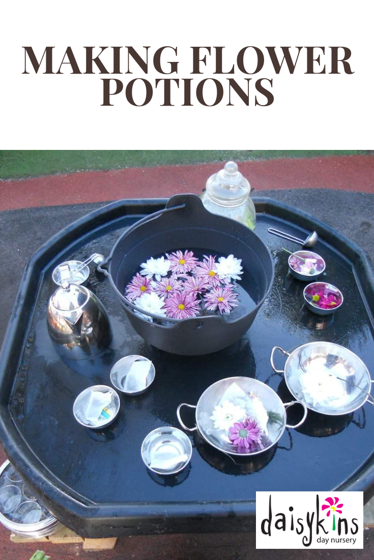 Why not create a flower potion tuff spot activity for the children to make lots of potions.