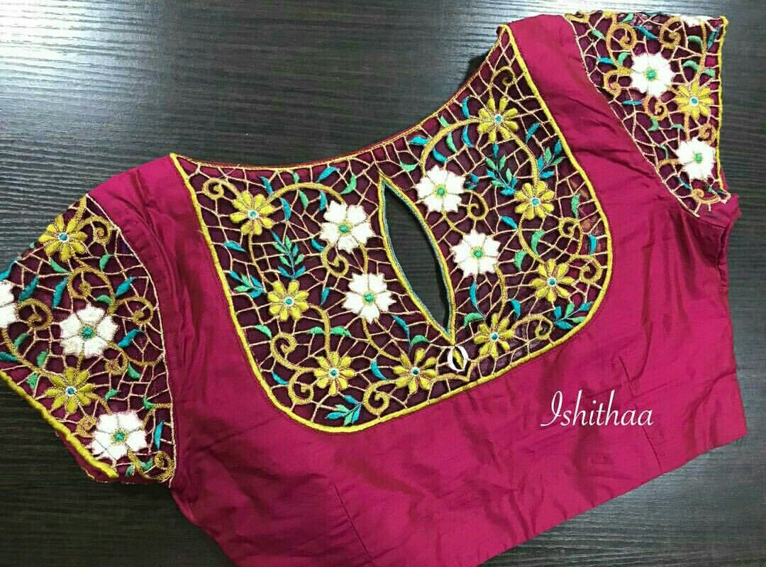 Pin von Rathi Venkatesh auf Patch work for blouse & Chudidhar ...