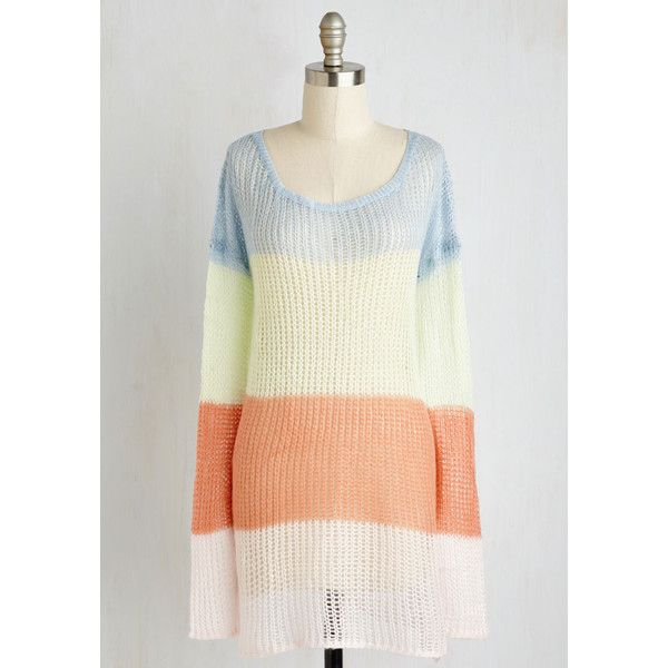Boho Long Long Sleeve Girls' Night ($50) via Polyvore featuring tops, sweaters, coral sweater, long sleeve pullover, white sweater, pullover sweater and color block sweater