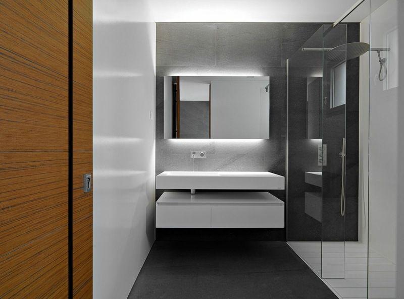 grau weies bad mit glasdusche - Bad Modern